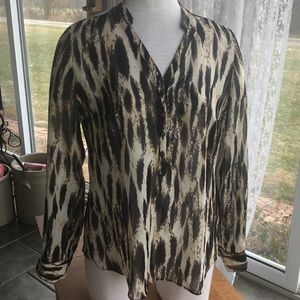 ANA cheetah print blouse sheer medium